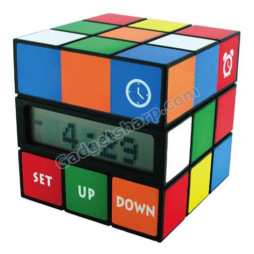 Rubik?s Cube Alarm Clock with Thermometer