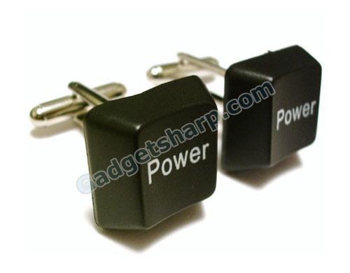 Power Black Keyboard Keys Cufflinks