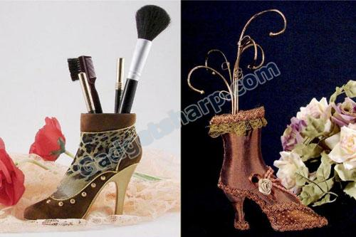 Boot-Shaped Cosmetic Brush Holder and Jewelry Holder