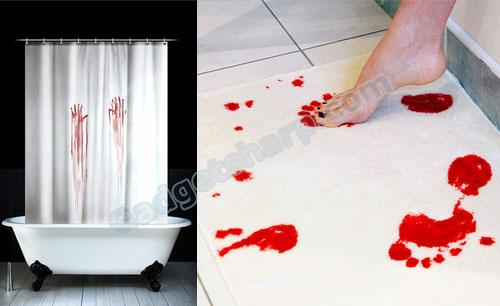 Blood bath shower curtain and blood bath mat