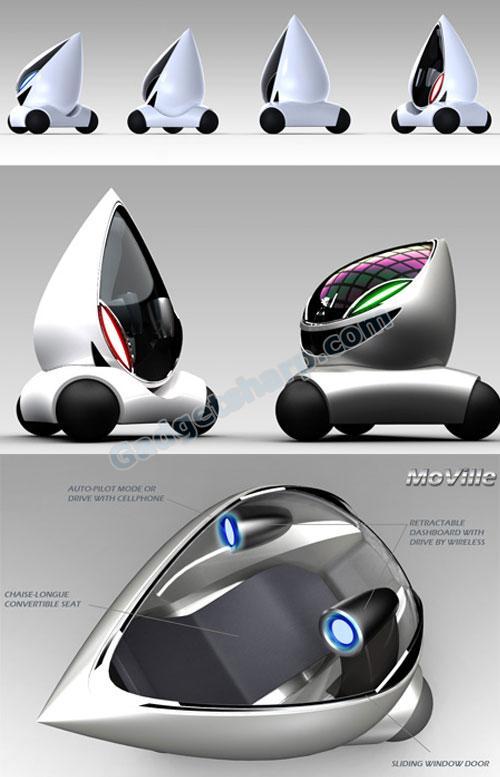 MoVille - Tear Drop Shaped Futuristic Car Concept