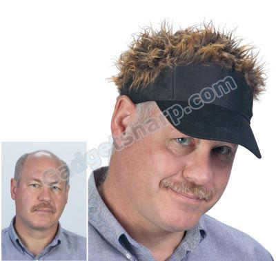Flair Hair - Brown Hair/Black Visor
