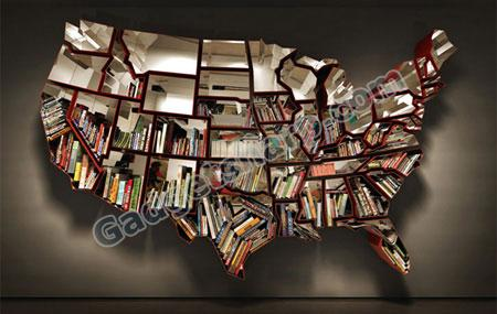 Bookshelf by Ron Arad shaped like the United States of America
