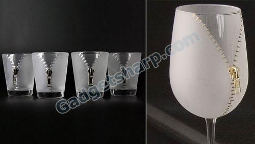 Silver Zipper Shot Glasses and Wine Glass