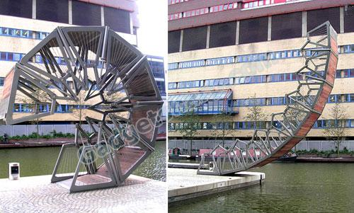 Rolling Bridge, Paddington Basin in London