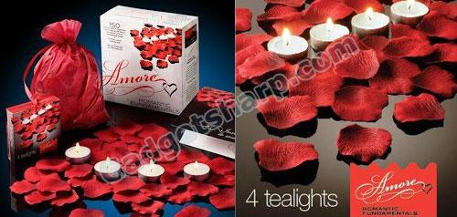 Bed of Roses Scented floating silk rose petals and tealight candles