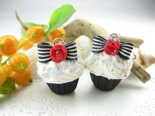 Rose and Bow Cupcake Earrings