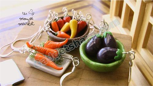 Carrot, pepper and eggplant Earrings
