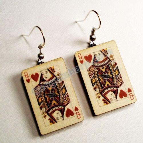 Queen of Hearts silver fish hook earrings