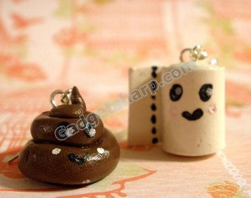 Poo and Toilet Paper earrings