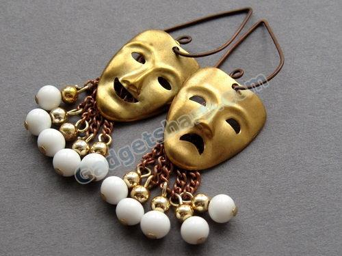 LIFE'S A DRAMA Vintage Theatrical Earrings on Oxidised Copper Ear Wires