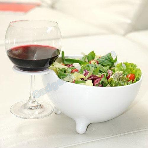 Alessi MooM Bowl With Built-In Wine Glass Holder