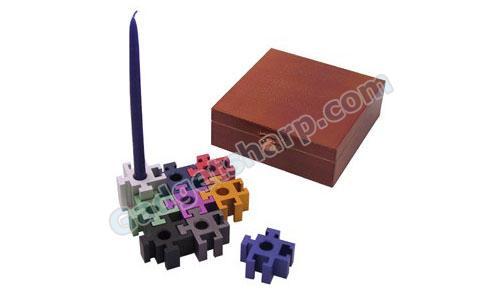 Anodized Aluminum Puzzle Menorah