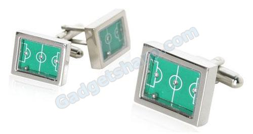 Real Soccer Football Game Silver Cufflinks