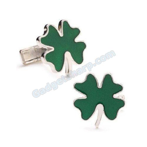 Enamel Clover Cufflinks - Gambling Themed Formal Wear