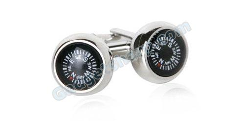 Functional Working Compass Silver Cufflinks