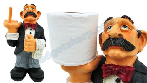 Funny Waiter Toilet Paper Roll Holder Butler