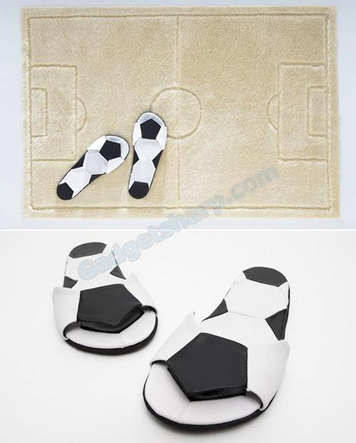 Football bath mat and slippers