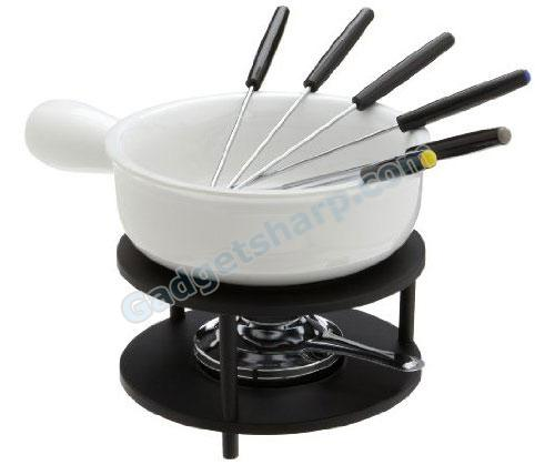 Kitchen Supply 10-Piece Ceramic Cheese-Fondue Set