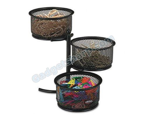 RolodexTM 3-Tier Wire Mesh Swivel Tower Paper Clip Holder