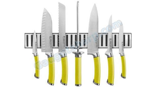 Ginsu Shoku Japanese Stainless Steel Cutlery Set with Colored Handles and Bonus Shears