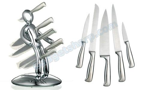 The Ex 5-Piece Knife Set with Limited Edition Chrome Holder
