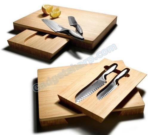 Pinzon Santoku Knives and Bamboo Cutting Board Set