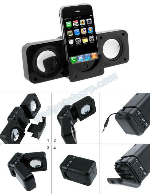 Black Portable Folding Stereo Speaker For iPod, iTouch, iPhone