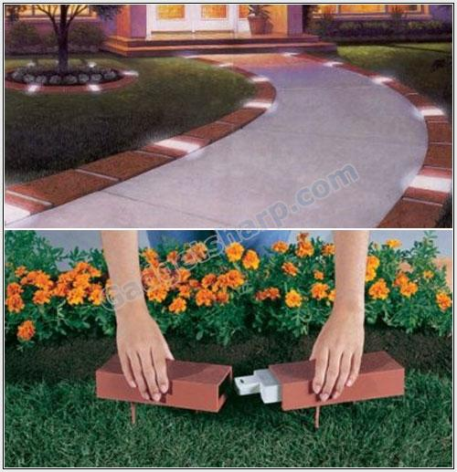 Glamorize Garden with Decorative Plastic Brick Edging with Built-In Solar Lights