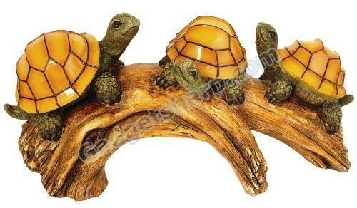 Solar Powered Turtles on a Log with Glowing Shells