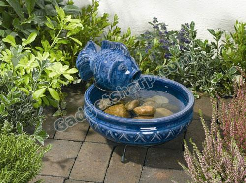 Solar Powered Ceramic Fish Fountain