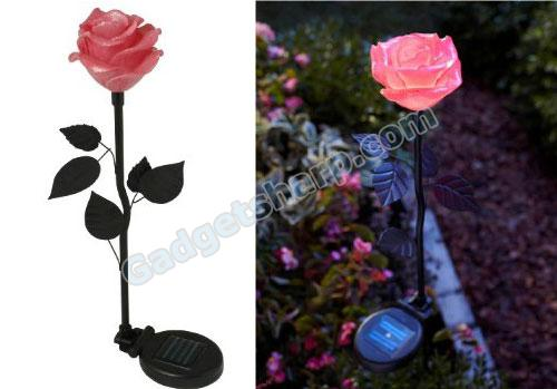 Solar Powered Flower Light, Pink Rose