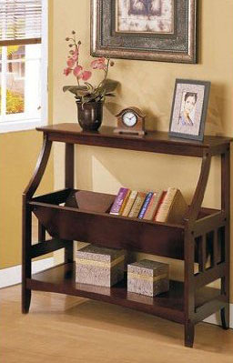 Wood Magazine Rack Console Table