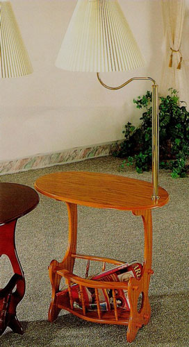 Wood Side Table With Magazine Rack And Built In Lamp