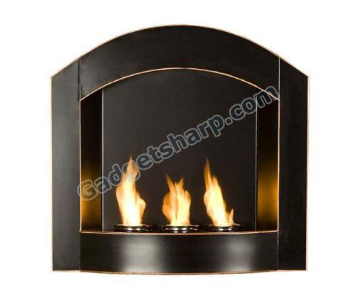 Black Arch Top Wall Mount Gel Fuel Fireplace