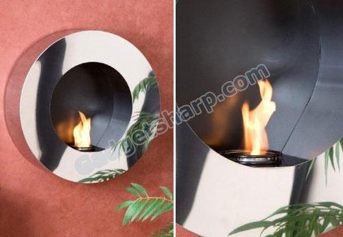 Round Stainless Steel Wall Mount Gel Fuel Sconce