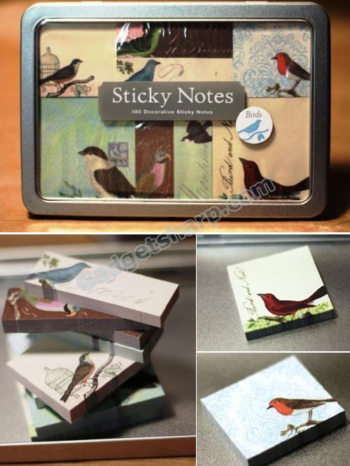 Cavallini Sticky Notes Set - Birds