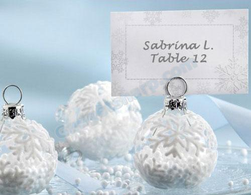 Snow Flurry Flocked Glass Ornament Place Card/Photo Holder