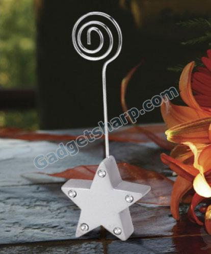 Silver star place card holders
