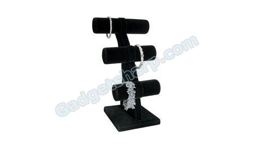 Bracelet 3 Tier T-Bar Jewelry Display Black Velvet