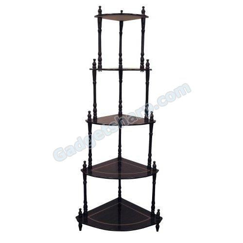 Ore International Cherry 5-Tier Corner Stand