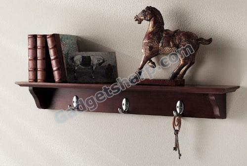 Wall Mounted Corner Shelf with Hooks in Walnut Finish