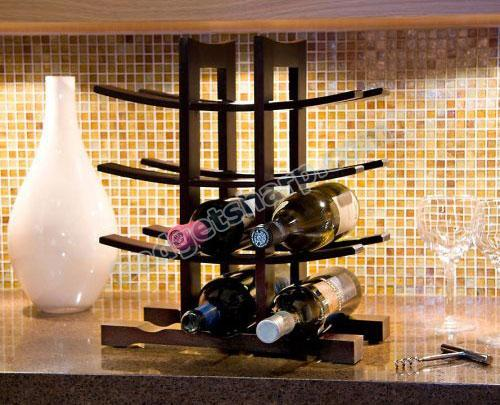 Sculptural Wine Rack - Espresso