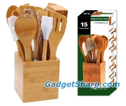 Cook N Home 15-Piece Bamboo Tool-In-A-Tub Set