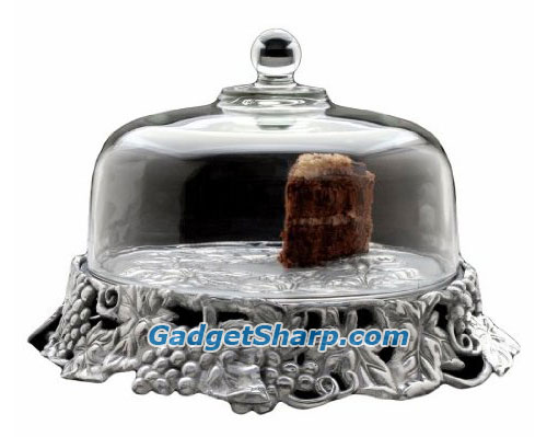 Arthur Court Grape 14-Inch Covered Cake Tray with Glass Dome