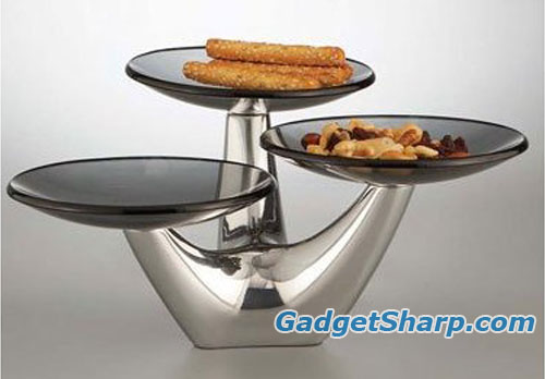 Nambe Morphik 3-Tier Condiment Server
