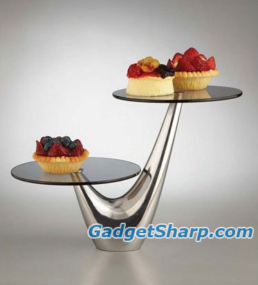 Nambe Morphik Cake 2-Tier Server