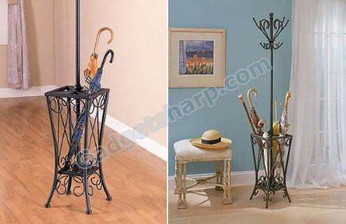 Coat Rack In Sandy Black Finish With Umbrella Stand