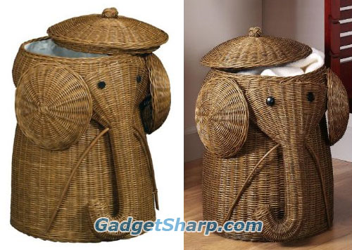 Rattan Elephant Laundry Hamper