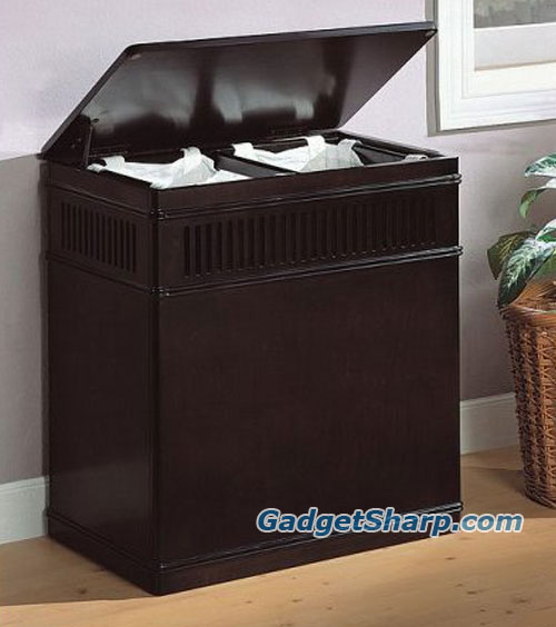 Cappuccino Finish Wood Laundry Basket Hamper w/ Removable Canvas Liner